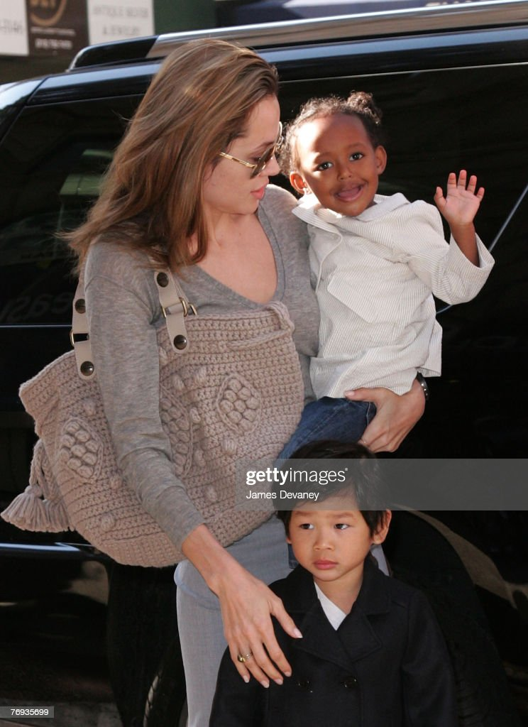 <a gi-track='captionPersonalityLinkClicked' href=/galleries/search?phrase=Angelina+Jolie&family=editorial&specificpeople=201591 ng-click='$event.stopPropagation()'>Angelina Jolie</a>, Pax Jolie-Pitt and Zahara Jolie-Pitt visit Borders book store on September 20, 2007 in New York City.