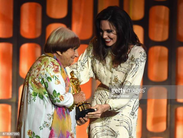 Angelina Jolie presents the Honorary Award to director Agnes Varda onstage at the Academy of Motion Picture Arts and Sciences' 9th Annual Governors...