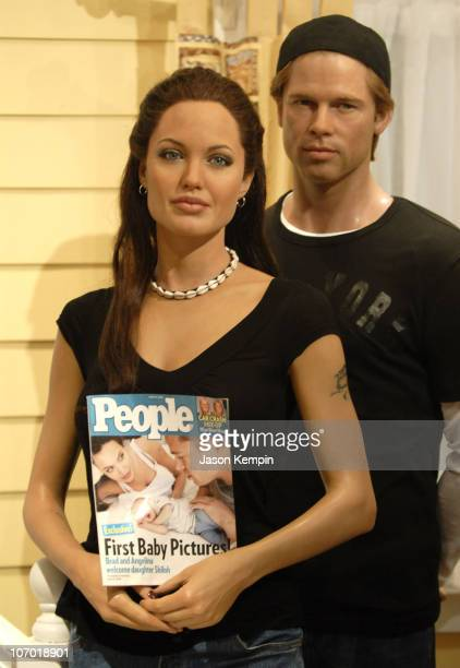 Angelina Jolie Shiloh Nouvel Jolie Pitt and Brad Pitt Wax Figures