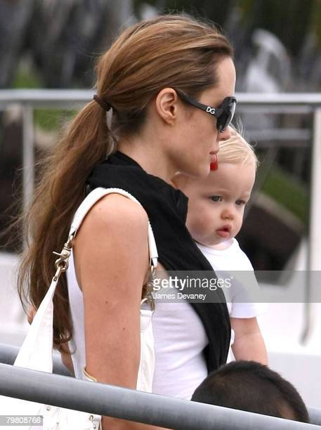 Angelina Jolie Shiloh Nouvelle and Pax sighted boating at Lake Michigan on August 18 2007 in Chicago Illinois