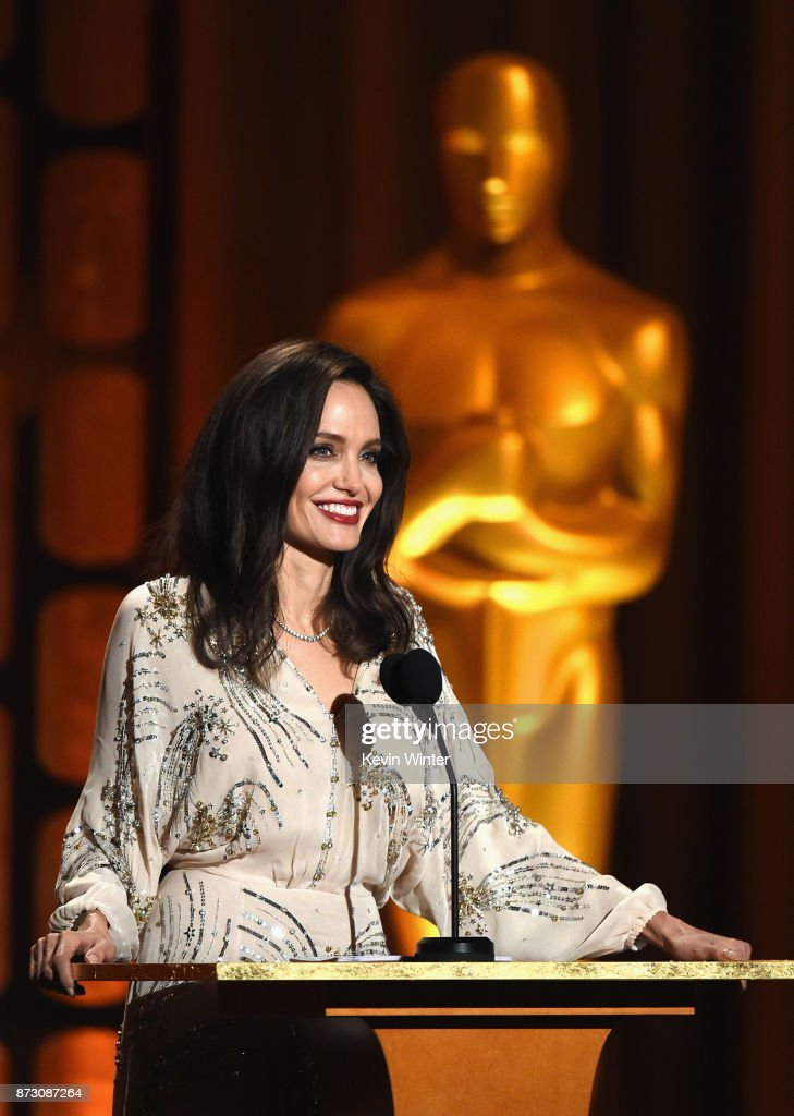 Angelina Jolie speaks onstage at the Academy of Motion Picture Arts and Sciences' 9th Annual Governors Awards at The Ray Dolby Ballroom at Hollywood & Highland Center on November 11, 2017 in Hollywood, California.