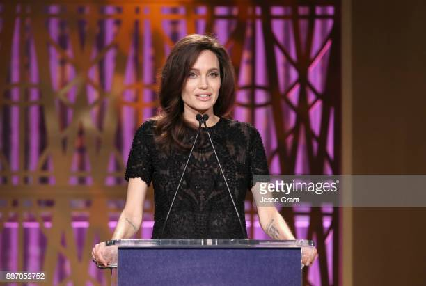 Angelina Jolie speaks onstage at The Hollywood Reporter's 2017 Women In Entertainment Breakfast at Milk Studios on December 6 2017 in Los Angeles...