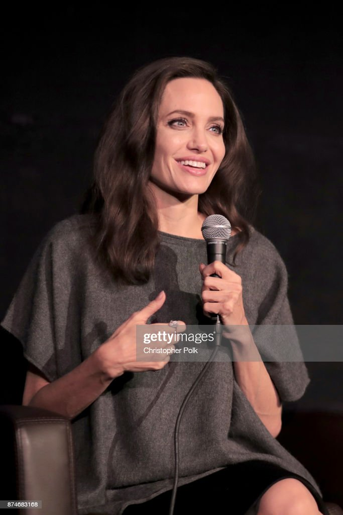 Angelina Jolie speaks onstage during 'On Collaborative Storytelling: Angelina Jolie And Loung Ung' at AFI FEST 2017 Presented By Audi at the Egyptian Theatre on November 13, 2017 in Hollywood, California.