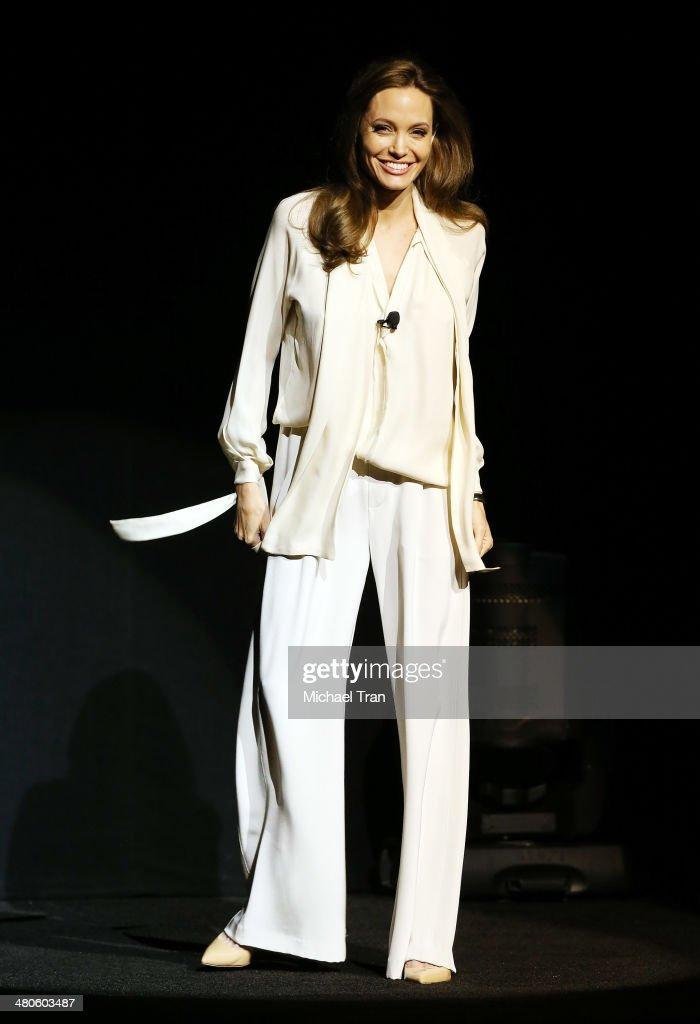 <a gi-track='captionPersonalityLinkClicked' href=/galleries/search?phrase=Angelina+Jolie&family=editorial&specificpeople=201591 ng-click='$event.stopPropagation()'>Angelina Jolie</a> speaks onstage during the Universal Pictures presentation at Cinemacon 2014 - Day 2 held at The Colosseum at Caesars Palace on March 25, 2014 in Las Vegas, Nevada.