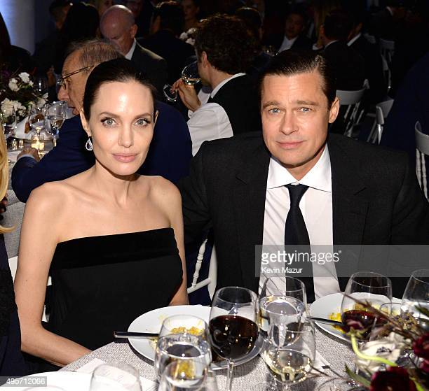 Angelina JoliePitt and Brad Pitt attend the WSJ Magazine 2015 Innovator Awards at the Museum of Modern Art on November 4 2015 in New York City