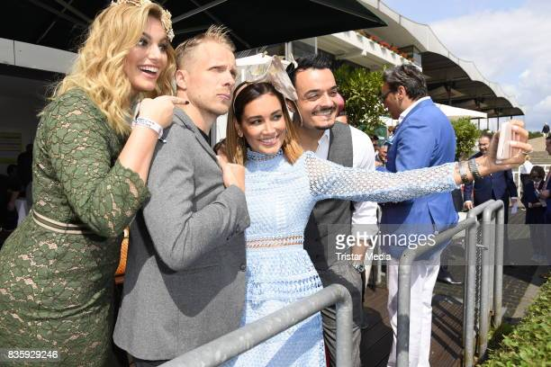 Angelina Kirsch Giovanni Zarrella his wife Jana Ina Zarrella and Oliver Pocher during the Audi Ascot Race Day 2017 on August 20 2017 in Hanover...