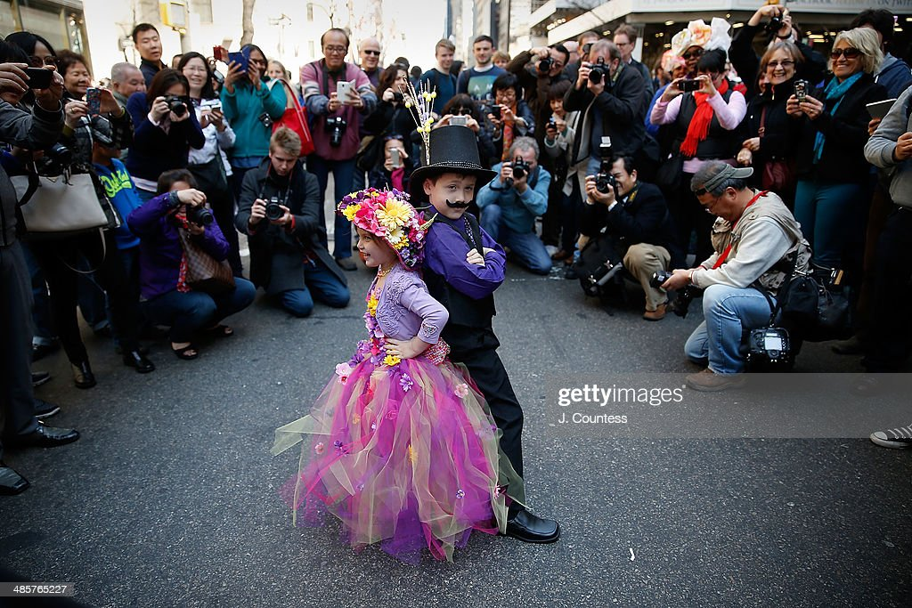 Angelina Miller and Alexander Miller are seen on 5th Ave during the annual Easter Parade and Bonnet Festival on Easter Sunday on April 20, 2014 in New York City.