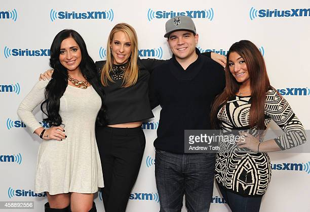Angelina Pivarnick Dr Jenn Berman Deena Cortese and Chris Buckner attend Dr Jenn Berman tapes 'The Dr Jenn Show' at SiriusXM Studios on November 11...