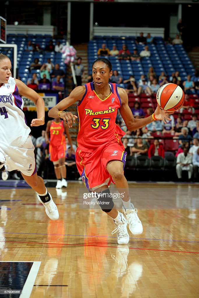 Angelina Williams of the Phoenix Mercury drives to the basket during the preseason game against the Sacramento Monarchs on May 12 2005 at Arco Arena...