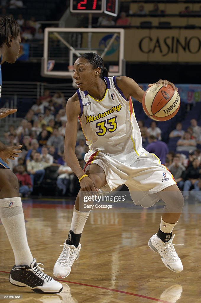 Angelina Williams of the Washington Mystics drives during a WNBA game against the Phoenix Mercury at America West Arena on July 15 2005 in Phoenix...