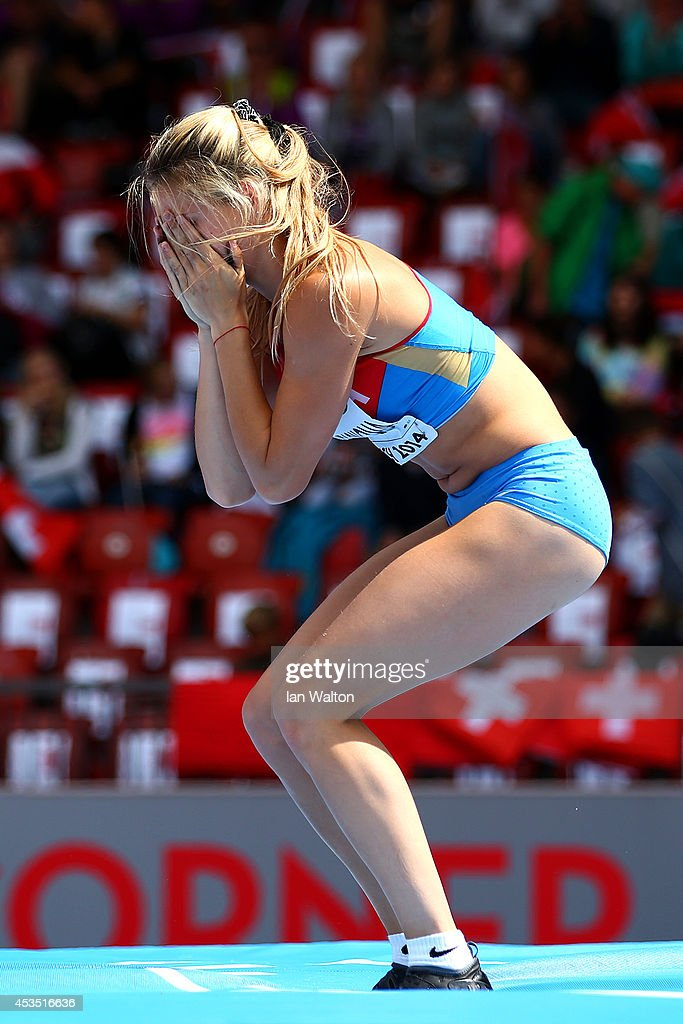 Angelina Zhuk-Krasnova of Russia reacts as she competes in the Women's Pole Vault qualification during day one of the 22nd European Athletics Championships at Stadium Letzigrund on August 12, 2014 in Zurich, Switzerland.