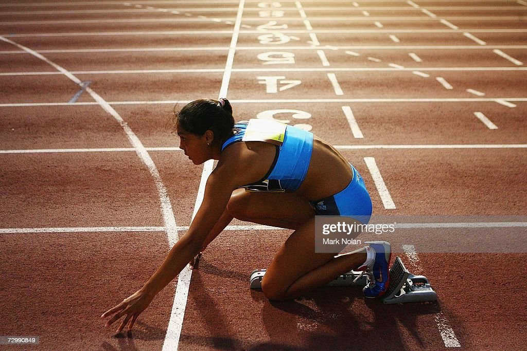 Angela Blackburn Of The ACT Prepares For Womens 400 Meter Race During Sydney Track