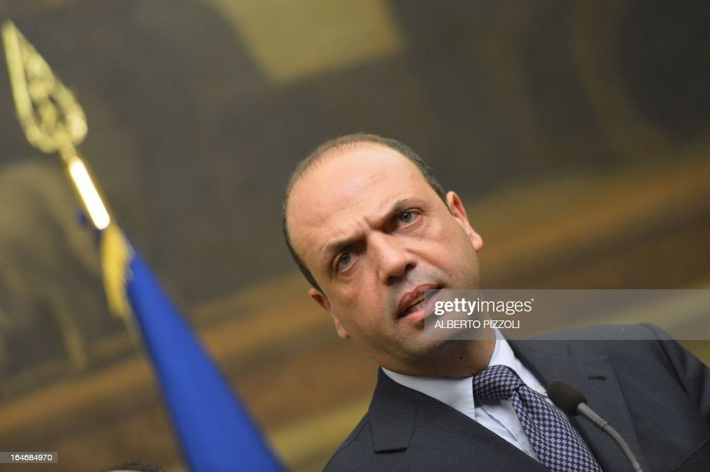 Angelino Alfano, general secretary of centre-right People of Freedom party (PDL) speaks during a press conference following a meeting with leftist leader Pier Luigi Bersani on March 26, 2013 at the Italian lower-house in Rome. Bersani was given the official go-ahead on March 23, 2013 to try and form a government after February elections that left the country in political gridlock. AFP PHOTO / ALBERTO PIZZOLI