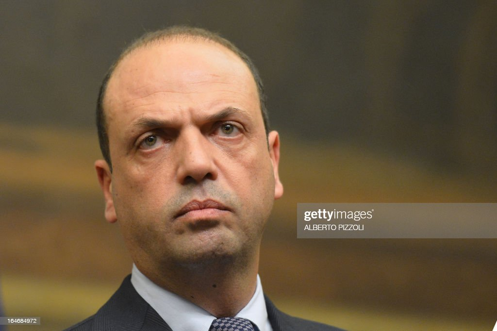 Angelino Alfano, general secretary of centre-right People of Freedom party (PDL) speaks during a press conference following a meeting with leftist leader Pier Luigi Bersani on March 26, 2013 at the Italian lower-house in Rome. Bersani was given the official go-ahead on March 23, 2013 to try and form a government after February elections that left the country in political gridlock.