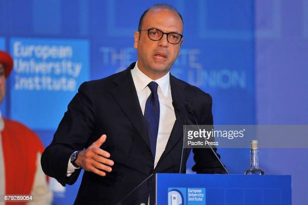 Angelino Alfano Italian Minister of Foreign Affairs during his speech at 'The State of the Union' conference in the Salone dei Cinquecento of Palazzo...