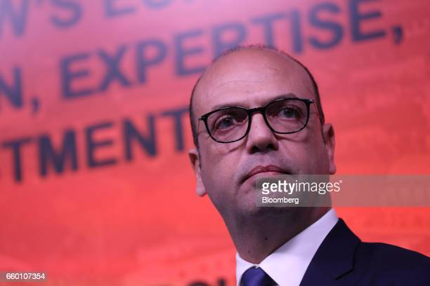 Angelino Alfano Italy's foreign minister pauses during a panel discussion on the topic of 'Italy Now and Next' in London UK on Wednesday March 29...