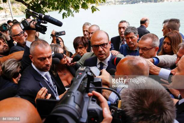 Angelino Alfano Italy's foreign minister speaks to media at the Ambrosetti Forum in Cernobbio Italy on Friday Sept 1 2017 Policy makers and business...