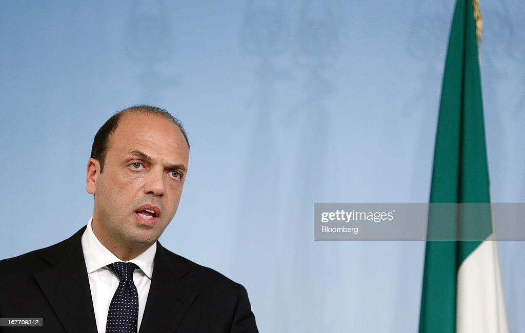 Angelino Alfano Italy's interior minister speaks during a news conference at the Chigi Palace in Rome Italy on Sunday April 28 2013 Two Italian...