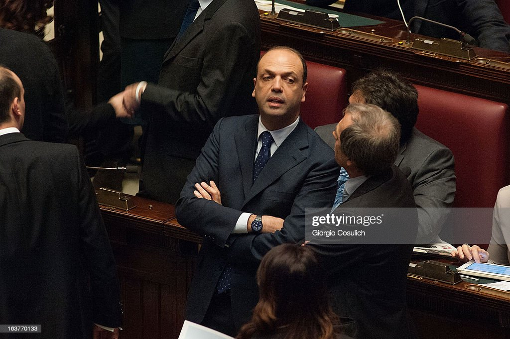 Angelino Alfano leader of the Popolo della Liberta' gestures as he attends the first meeting of the new Italian parliament March 15 2013 in Rome...
