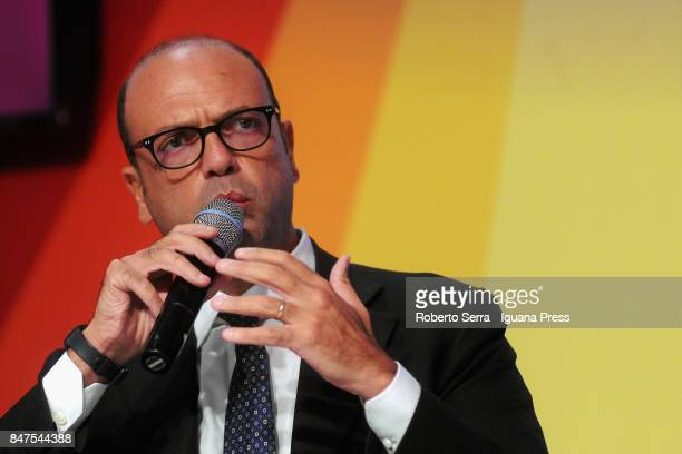 Angelino Alfano Minister of Foreign Affairs speaks at a National Festa dell'Unita public debate on September 15 2017 in Imola Italy