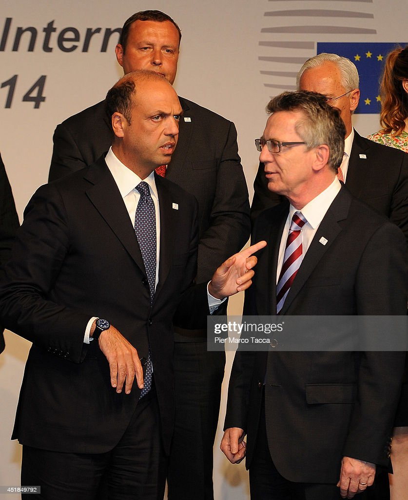 Angelino Alfano the Minister of Interior for Italy and Thomas de Maiziere Minister of Interior for Germany pose for a photo during the EU Minister Of...