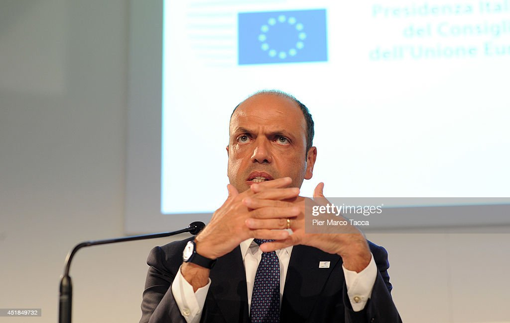 Angelino Alfano the Minister of Interior for Italy attends the press conference during the EU Minister Of Interiors And Minister Of Justice Informal...