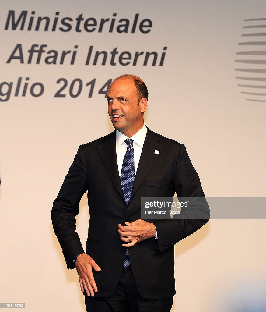 Angelino Alfano the Minister of Interior for Italy poses for a photo during the EU Minister Of Interiors And Minister Of Justice Informal Meeting on...