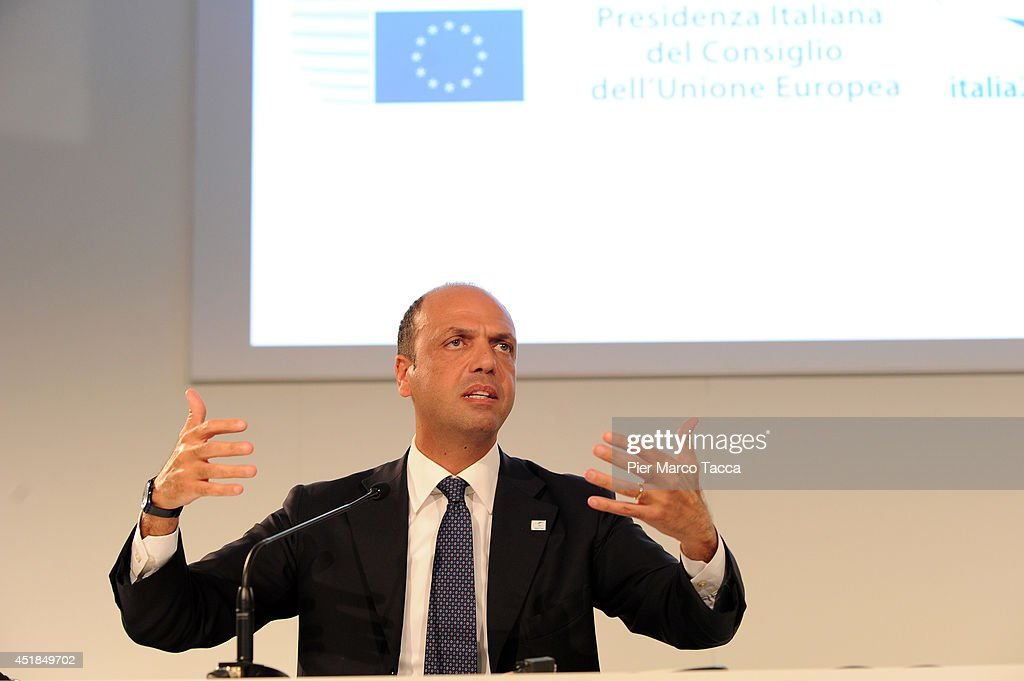 Angelino Alfano the Minister of Interior for Italy speaks at the press conference during the EU Minister Of Interiors And Minister Of Justice...