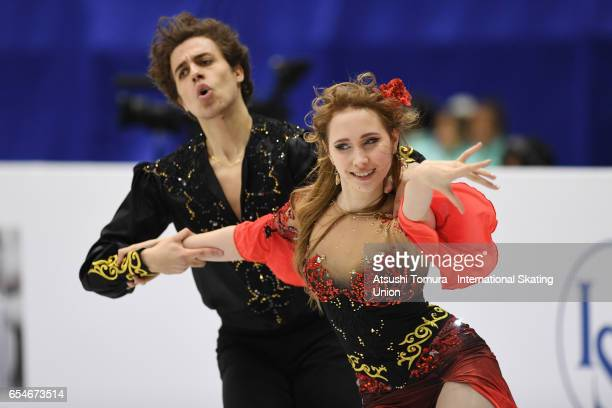 Angelique Abachkina and Louis Thauron of France compete in the Junior Ice Dance Free Dance during the 4th day of the World Junior Figure Skating...