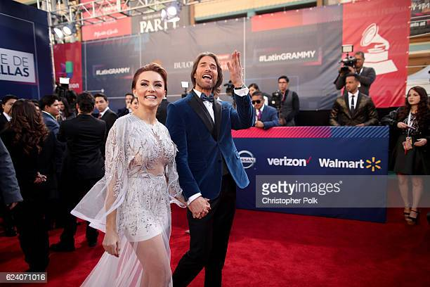 Angelique Boyer and actor Sebastian Rulli attend The 17th Annual Latin Grammy Awards at TMobile Arena on November 17 2016 in Las Vegas Nevada