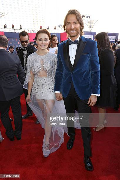 Angelique Boyer and singer Sebastian Rulli attend The 17th Annual Latin Grammy Awards at TMobile Arena on November 17 2016 in Las Vegas Nevada