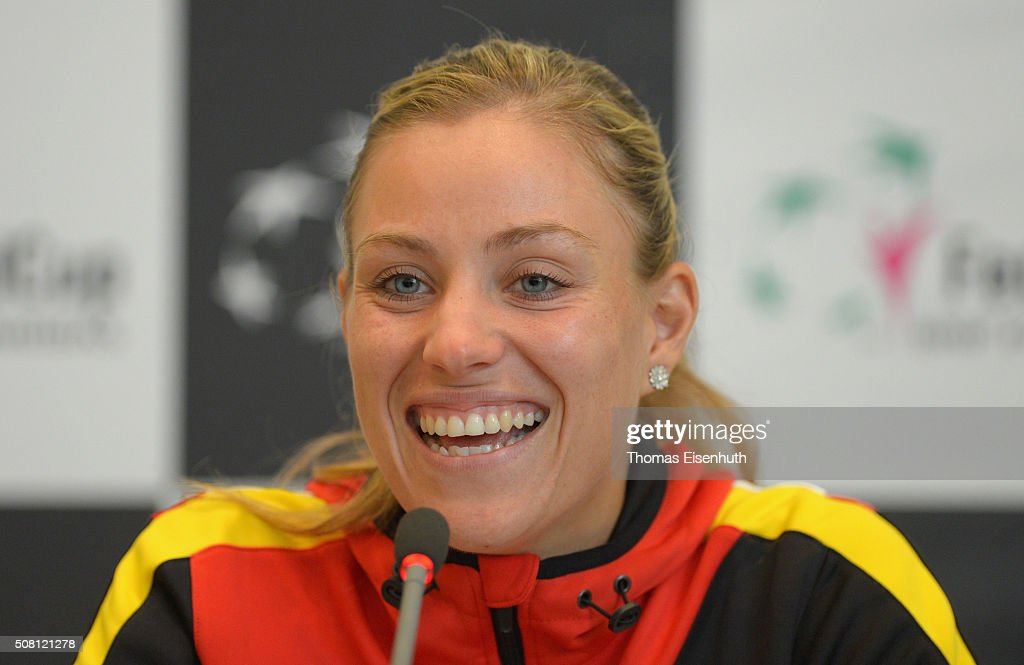 <a gi-track='captionPersonalityLinkClicked' href=/galleries/search?phrase=Angelique+Kerber&family=editorial&specificpeople=4307332 ng-click='$event.stopPropagation()'>Angelique Kerber</a> attends a DTB press conference prior to the Fed Cup match against Switzerland at Messe Leipzig on February 3, 2016 in Leipzig, Germany.