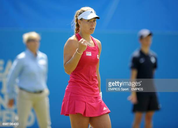 Angelique Kerber celebrates beating Caroline Wozniacki during the AEGON International at Devonshire Park Eastbourne