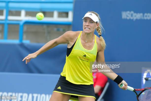 Angelique Kerber hits a forehand during the Western Southern Open at the Lindner Family Tennis Center in Mason Ohio on August 16 2017