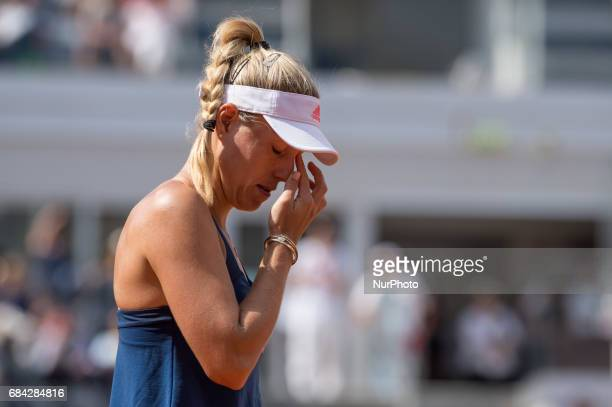 Angelique Kerber looks dejected during the match between Angelique Kerber vs Anett Kontaveit at the Internazionali BNL d'Italia 2017 at the Foro...