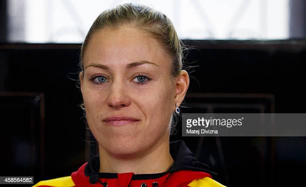 Angelique Kerber of Germany attends a draw ceremony prior to the Fed Cup final tennis match between the Czech Republic and Germany on November 7 2014...
