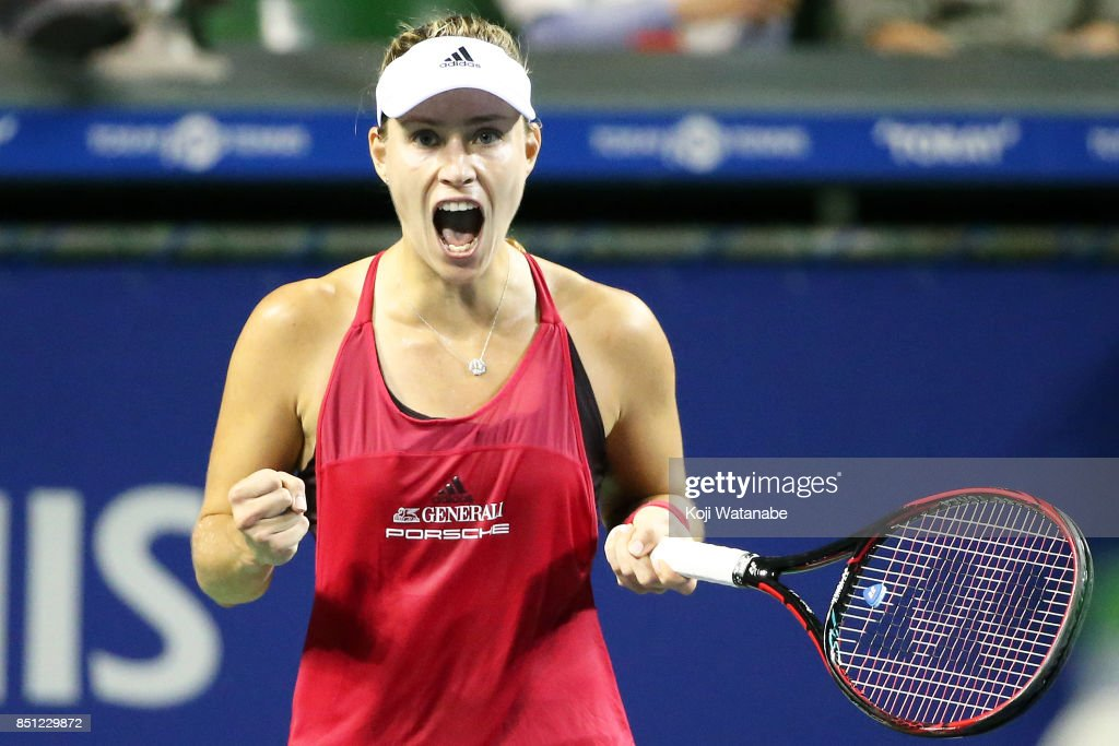 Angelique Kerber of Germany celebrate winning in her quarter final match against Karolina Pliskova of Czech Republic during day five of the Toray Pan Pacific Open Tennis At Ariake Coliseum on September 22, 2017 in Tokyo, Japan.