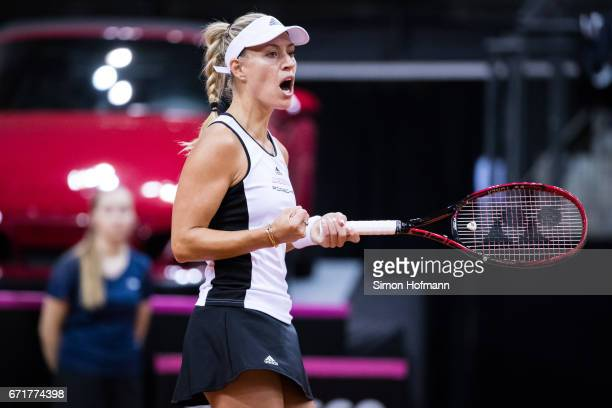 Angelique Kerber of Germany celebrates a point against Elina Svitolona of Ukraine during the FedCup World Group PlayOff match between Germany and...