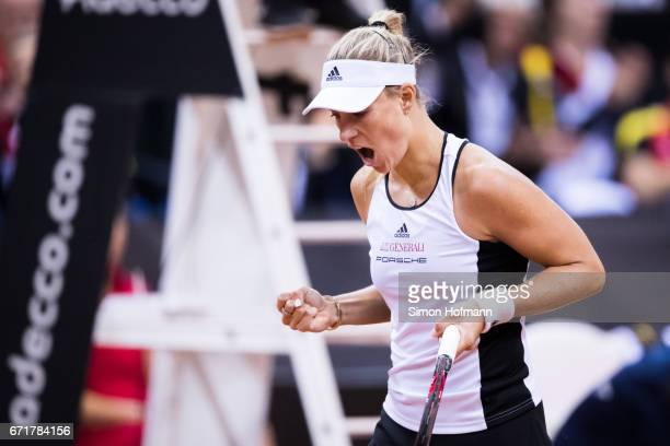 Angelique Kerber of Germany celebrates a point against Elina Svitolina of Ukraine during the FedCup World Group PlayOff match between Germany and...
