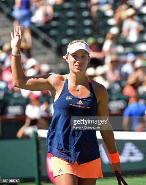 Angelique Kerber of Germany celebrates after defeating Andrea Petkovic at Indian Wells Tennis Garden on March 11 2017 in Indian Wells California