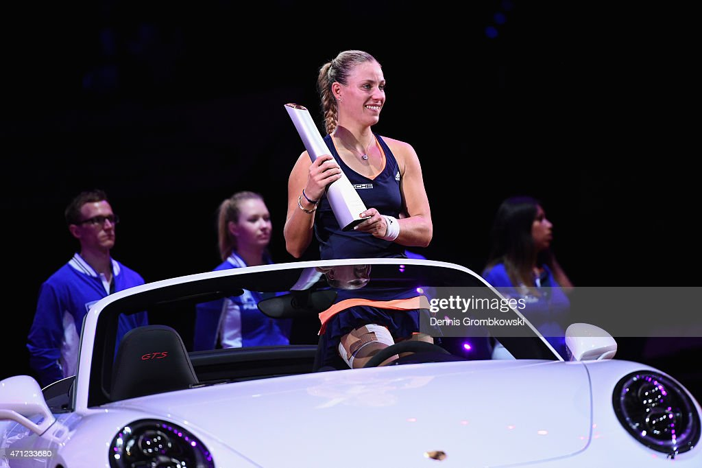 Angelique Kerber of Germany celebrates after her victory in her final match against Caroline Wozniacki of Denmark during Day 7 of the Porsche Tennis Grand Prix on April 26, 2015 in Stuttgart, Germany.