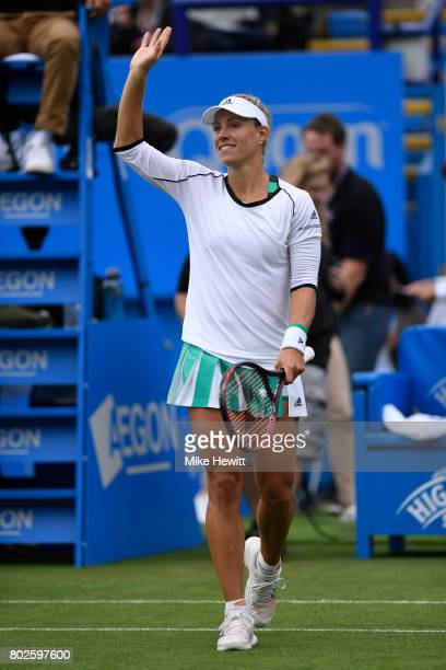 Angelique Kerber of Germany celebrates after her victory over Kristyna Pliskova of Czech Republic on Day 4 of the Aegon International Eastbourne...