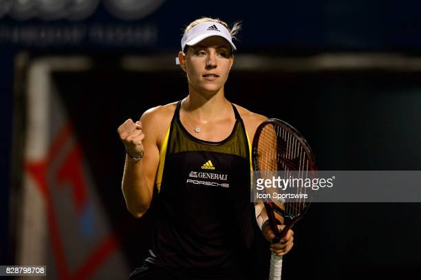 Angelique Kerber of Germany celebrates after winning a point during her second round match of the 2017 Rogers Cup tennis tournament on August 9 at...