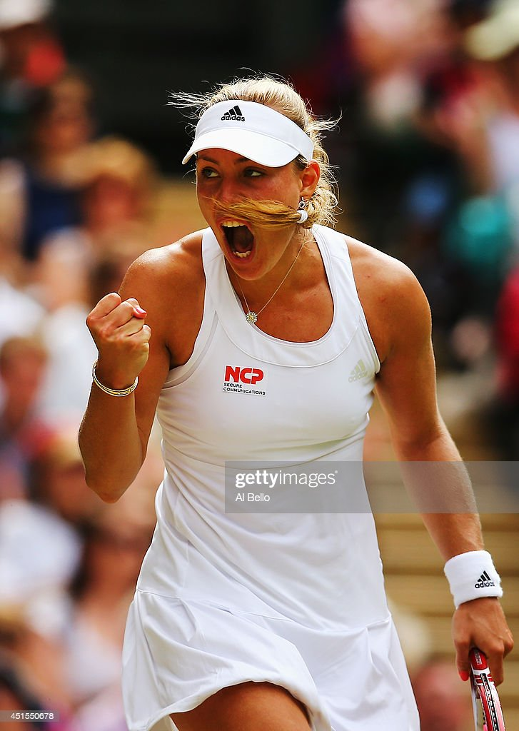 <a gi-track='captionPersonalityLinkClicked' href=/galleries/search?phrase=Angelique+Kerber&family=editorial&specificpeople=4307332 ng-click='$event.stopPropagation()'>Angelique Kerber</a> of Germany celebrates during her Ladies' Singles fourth round match against Maria Sharapova of Russia on day eight of the Wimbledon Lawn Tennis Championships at the All England Lawn Tennis and Croquet Club on July 1, 2014 in London, England.