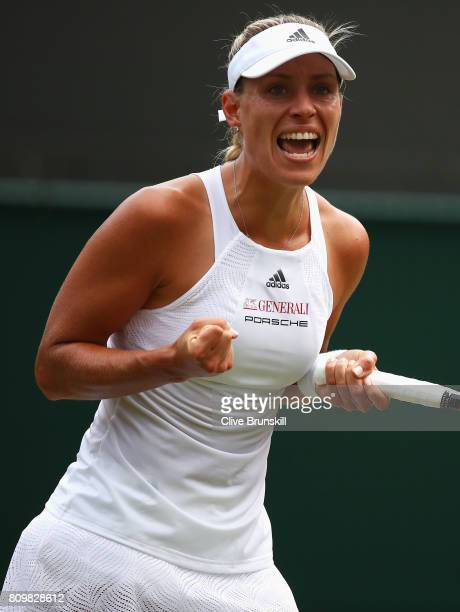 Angelique Kerber of Germany celebrates during the Ladies Singles second round match against Kristen Flipkins of Belgium on day four of the Wimbledon...