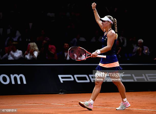 Angelique Kerber of Germany celebrates her victory in her semi final match against Madison Brengle of the United States during Day 6 of the Porsche...