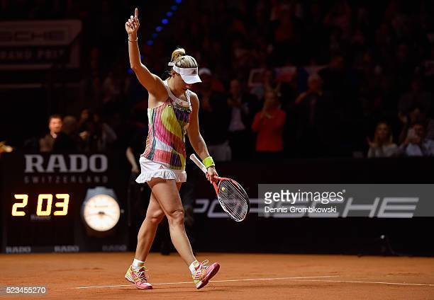 Angelique Kerber of Germany celebrates match point in her semi final match against Petra Kvitova of Czech Republic during Day 6 of the Porsche Tennis...
