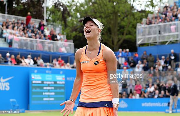 Angelique Kerber of Germany celebrates match point in her singles final match against Karolina Pliskova of Czech Republic on day seven of the Aegon...