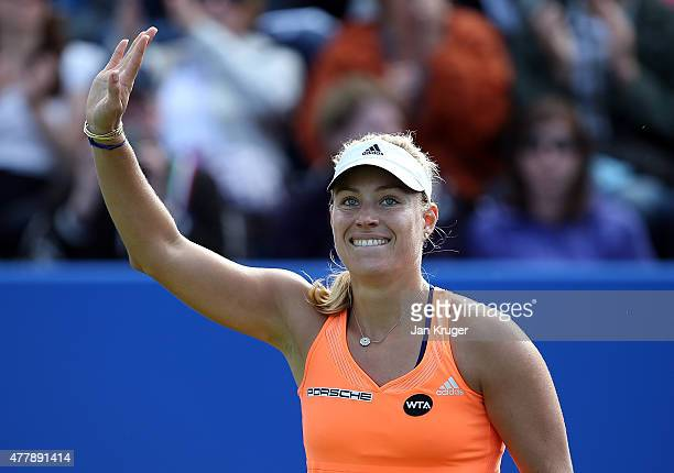 Angelique Kerber of Germany celebrates the win over Sabine Lisicki of Germany during their semi final match on day six of the Aegon Classic at...