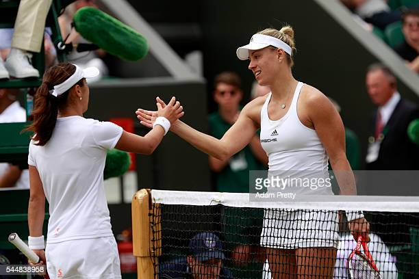 Angelique Kerber of Germany celebrates victory during the Ladies Singles fourth round match against Misaki Doi of Japan on day seven of the Wimbledon...
